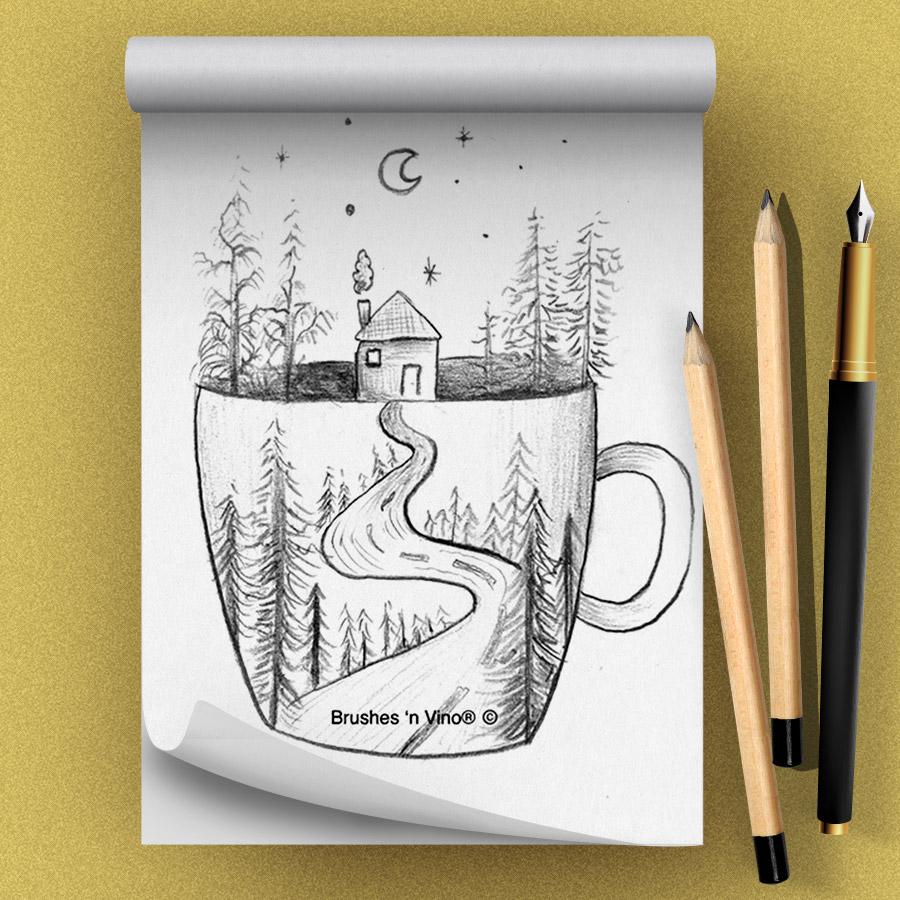 Cabin Mug Drawing Class